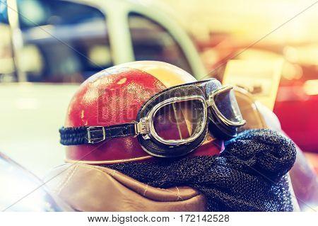 Helmet of a biker in vintage effect and sunlight