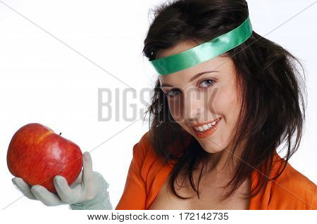Smiled Girl With Apple
