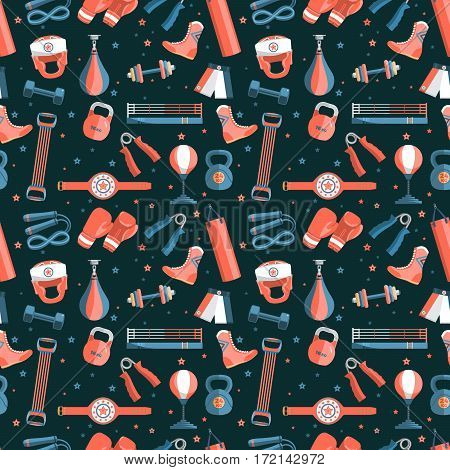 Sports Equipment pattern. Set of colorful sports equipment for boxing at a black background. Subject of boxing, sport, healthy lifestyle tools, elements. Vector Illustration