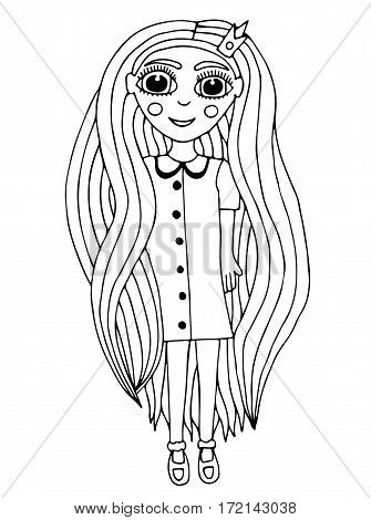 Portrait of a beautiful girl with long hair with crone on the head. Mono color black line art element for coloring book design.
