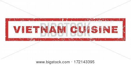 Vietnam Cuisine text rubber seal stamp watermark. Tag inside rectangular banner with grunge design and scratched texture. Horizontal vector red ink sign on a white background.