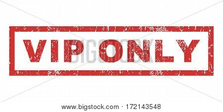 Vip Only text rubber seal stamp watermark. Caption inside rectangular shape with grunge design and scratched texture. Horizontal vector red ink sticker on a white background.