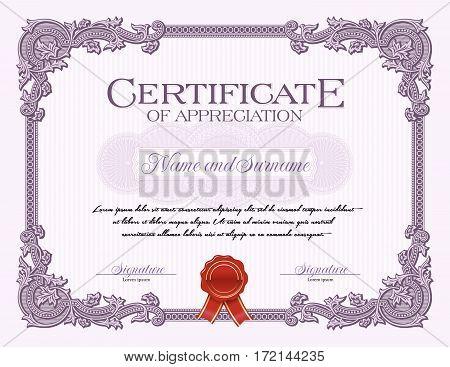 Ornament Vintage Frame Certificate of Appreciation Violet
