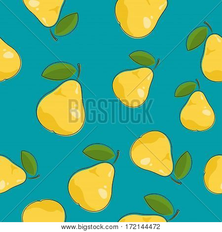 Seamless Pattern of Pear , Fruit Berry Pattern on Azure Background, Vector Illustration