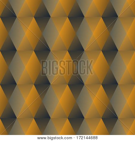 Golden hexagonal patterns with 3d illusion seamless luxurious background in art deco style vector EPS10