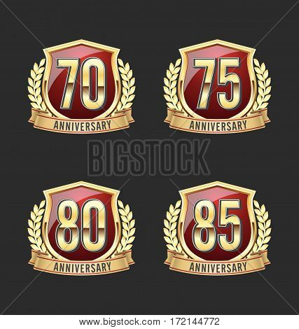 Anniversary badges. Set of Four Luxury Anniversary Badges.