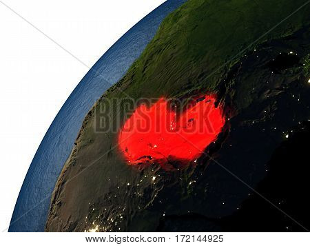Zambia In Red On Earth At Night