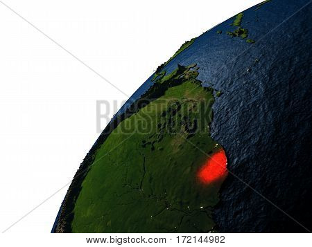 French Guiana In Red On Earth At Night