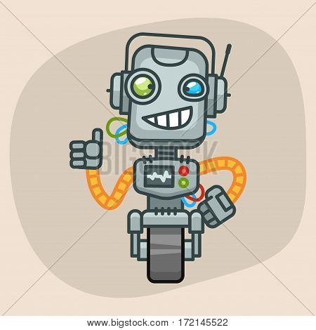 Vector Illustration, Robot Smiling and Showing Thumbs Up, Format EPS 10