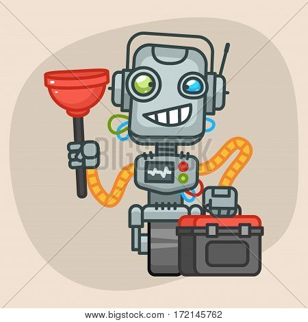 Vector Illustration, Robot Holds Suitcase and Plunger, Format EPS 10