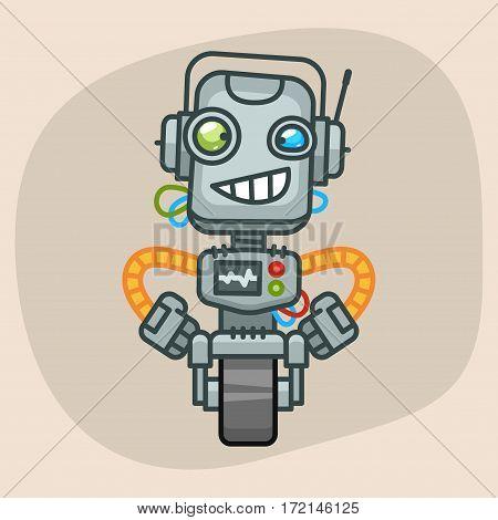 Vector Illustration, Robot Holding Hands on Waist, Format EPS 10