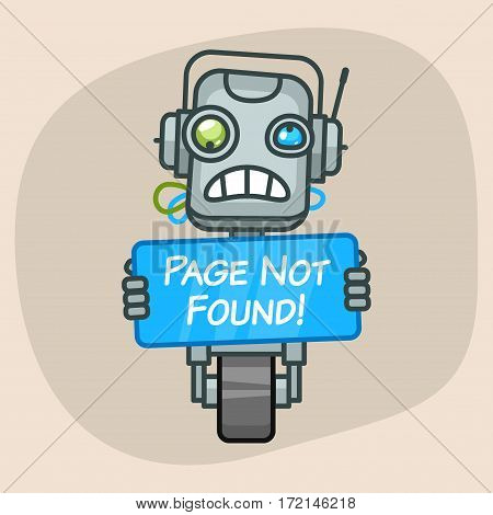 Vector Illustration, Robot Holds Sign Page Not Found, Format EPS 10