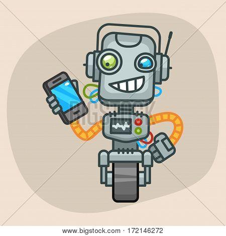 Vector Illustration, Robot Holding Mobile Phone, Format EPS 10