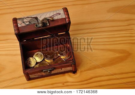 A treasure chest filled with golden coins