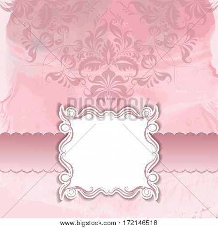 Vector frame and filigree ornate on watercolor background for design