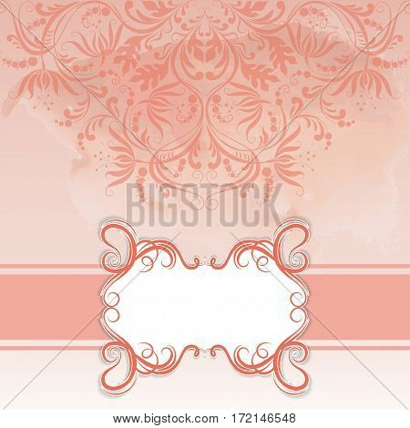 Vector frame and lace ornate on watercolor background for design