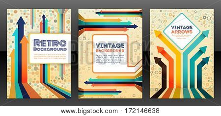 Abstract retro cover design with arrows elements. Abstract vintage progress concept flyer. Brochure template layout cover design of annual report. Vector eps 10