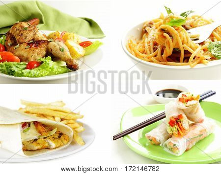 collage set ready meal on a white background