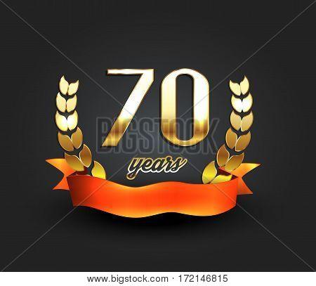 Seventy years anniversary banner. 70th anniversary logo. Vector illustration.