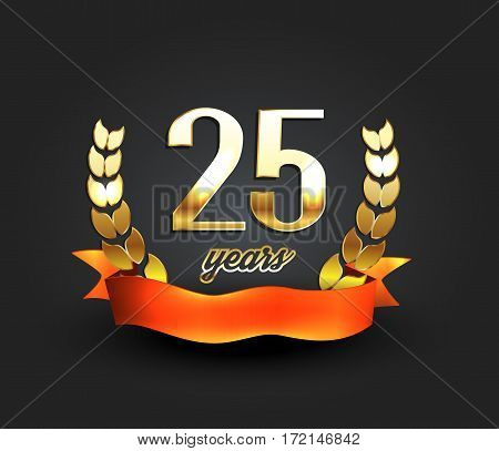 Twenty five years anniversary banner. 25th anniversary logo. Vector illustration.