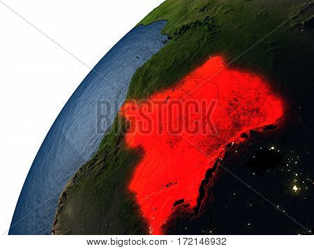 Democratic Republic Of Congo In Red On Earth At Night