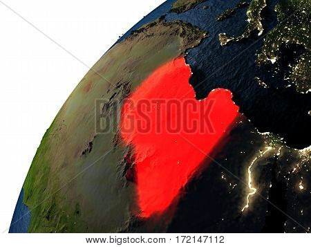 Libya In Red On Earth At Night