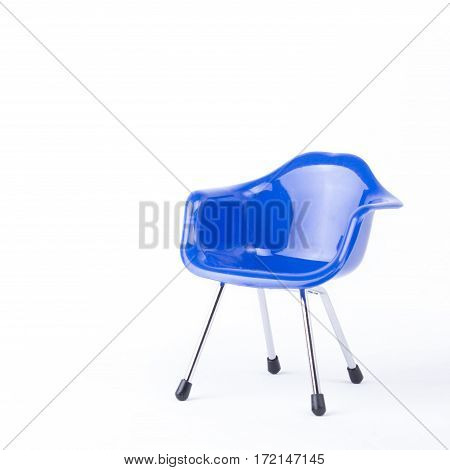 Blue chair with arm on a white background