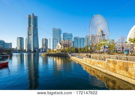 Yokohama Minato Mirai 21 Seaside Urban Area In Central Yokohama, Japan