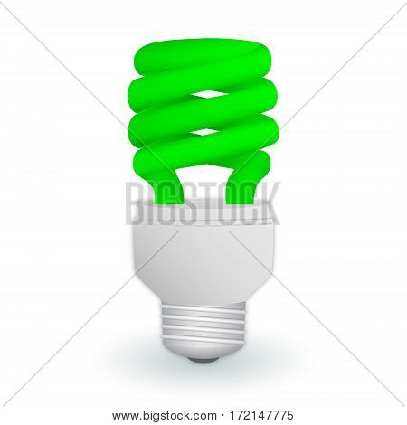Fluorescent green economical light bulb isolated on a white background. Save energy lamp. Realistic vector illustration.