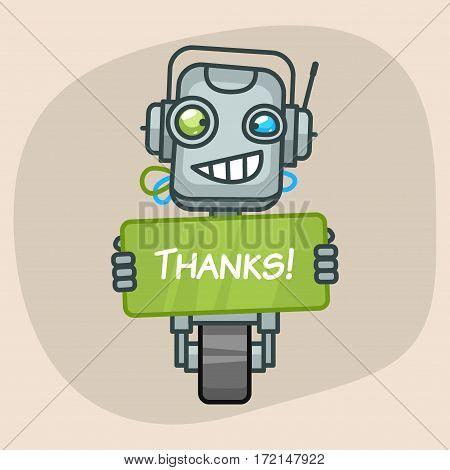 Vector Illustration, Robot Holds Sign Thanks, Format EPS 10