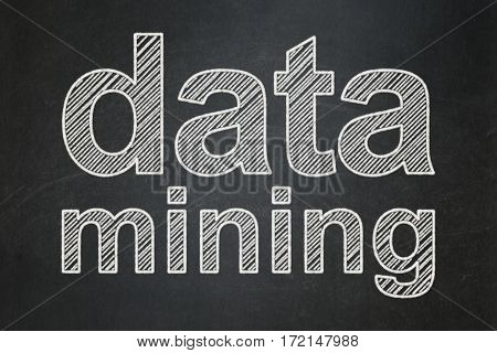 Data concept: text Data Mining on Black chalkboard background