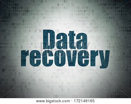 Data concept: Painted blue word Data Recovery on Digital Data Paper background