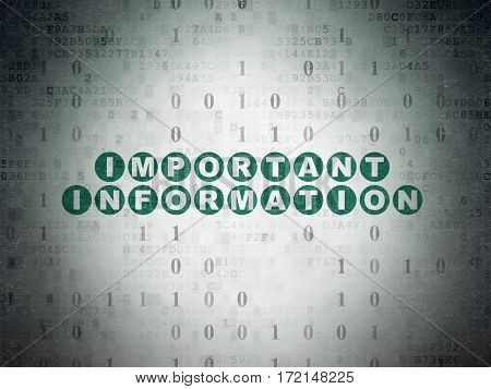 Information concept: Painted green text Important Information on Digital Data Paper background with Binary Code