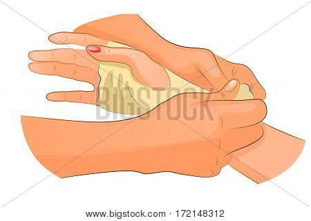 vector illustration of a bandage in case of injury of wrist joint
