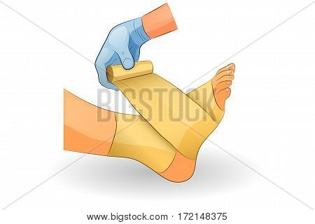 vector illustration of a bandage in case of injury of the ankle joint