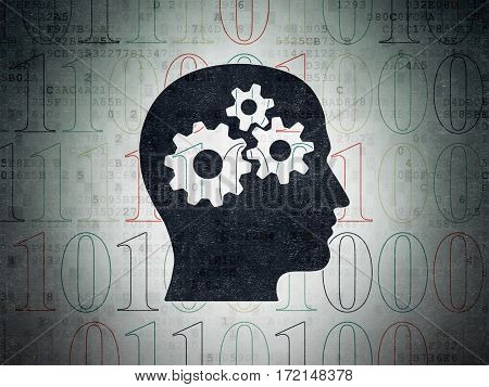 Information concept: Painted black Head With Gears icon on Digital Data Paper background with  Binary Code