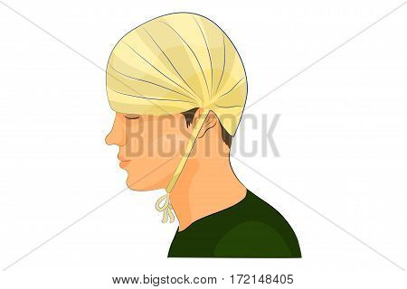 vector illustration of bandage on the head