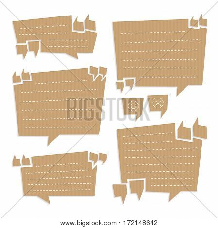 Vector illustration Set of speech bubbles cut out of craft paper or cardboard with quotation marks, space for text and mood icons. Stickers or reminder notes isolated on white.
