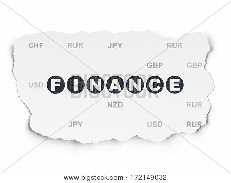 Currency concept: Painted black text Finance on Torn Paper background with  Currency