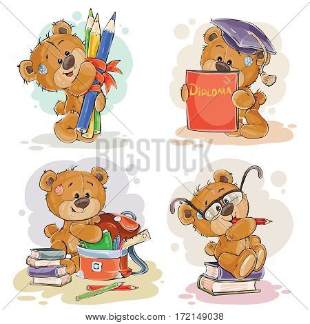 Set of vector clip art illustration with a teddy bear on the topic of school and university education. Funny illustrations for greeting cards and children s books