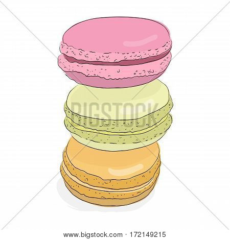 Set of isolated colorful doodle macaroon. Sketch macaroon. Macaroons handmade. Objects for design. French dessert. Cute macaroon with doodles. Vector illustration.