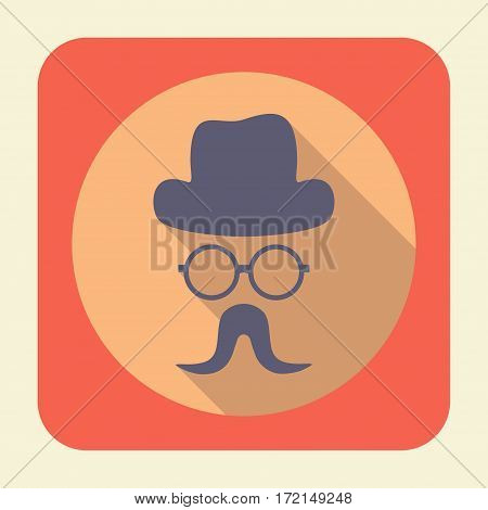 Flat icon with long shadow effect in stylish colors of web design objects business office and marketing items. Gentleman icon.
