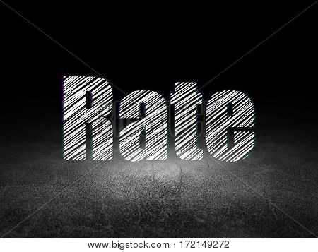 Money concept: Glowing text Rate in grunge dark room with Dirty Floor, black background