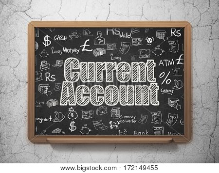 Currency concept: Chalk White text Current Account on School board background with  Hand Drawn Finance Icons, 3D Rendering