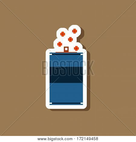 paper sticker on stylish background can of soda