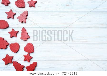 Decorative Fir-tree, Star And Heart On White Wooden Table