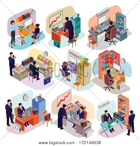 Vector illustration of a set of 3D isometric people in business suits in the office. Isometric business men and business women in different poses at their workplaces.