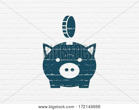 Currency concept: Painted blue Money Box With Coin icon on White Brick wall background