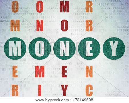 Money concept: Painted green word Money in solving Crossword Puzzle on Digital Data Paper background