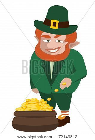 leprechaun with pot of gold - funny vector cartoon illustration